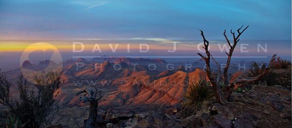 20120313-092 Warm sunrise over Quemada HDR pano