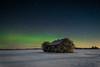112 Winter Aurora Borealis and abndoned farmhouse