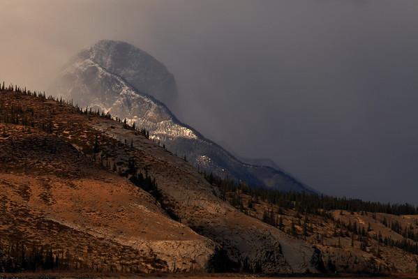 Late afternoon cloud and sunshine near Jasper, Alberta