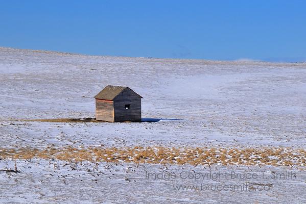 Lonely shack in a snowy field