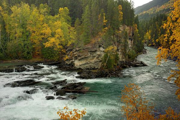 Rearguard Falls, Upper Fraser River, British Columbia in autumn