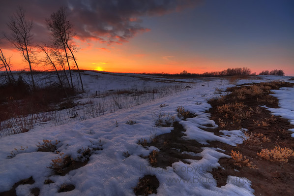 Spring sunset and melting snow