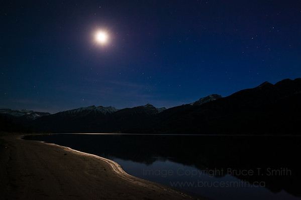 Moonlight over Jasper Lake and the Rocky Mountains, Jasper National Park, Alberta
