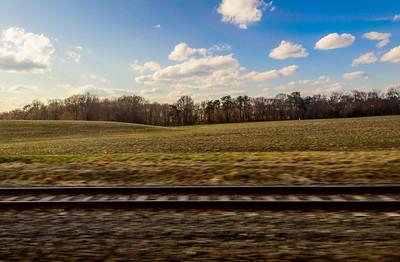 Rolling trackside fields