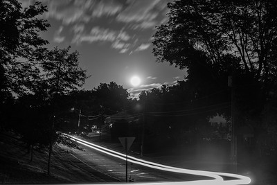 Light Trails and the Bright Moon
