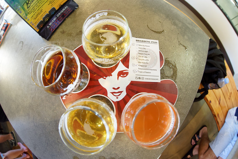 Beer flight at Concrete Beach Brewery