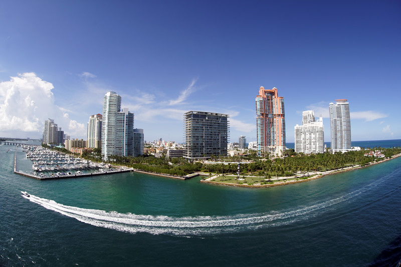 View of Miami Beach as we left the harbour