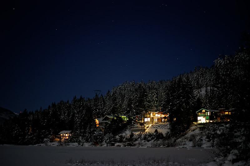Whistler. Alta Lake at night under a full moon.