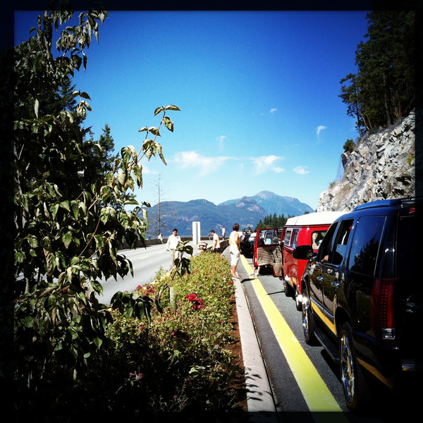 Stuck on the Sea to Sky Highway. August 25, 2012.