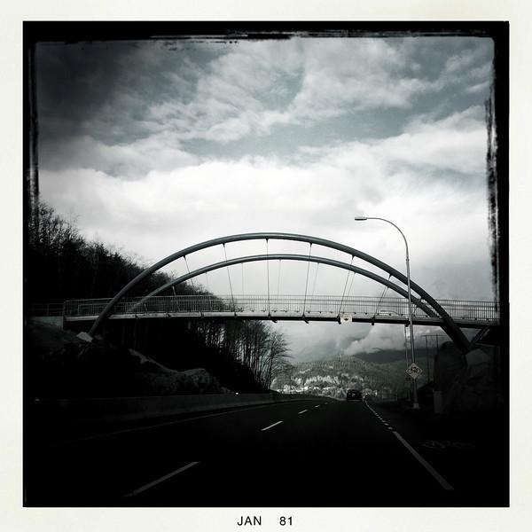 Foot bridge near The Chief, Squamish BC, January 8, 2011.