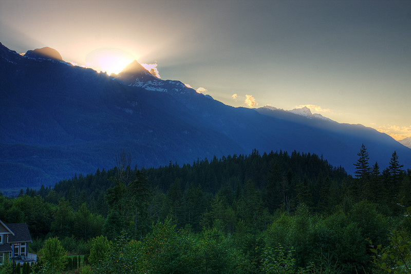 Sunset at Quest University, Squamish BC, July 17, 2010.