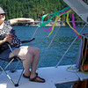 Adelle's on a boat.