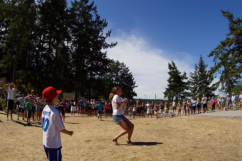 """Sports day.  The water balloon toss.<br /> <br /> The """"winning"""" catch."""
