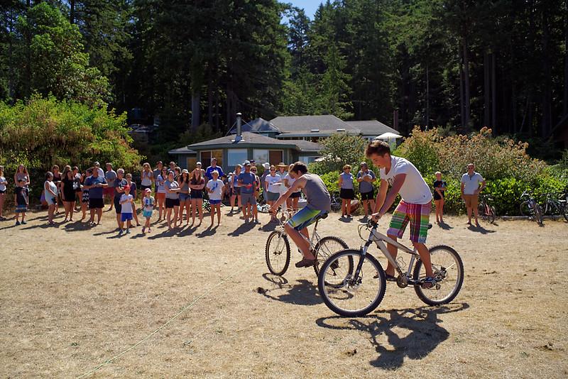 Sports day. The slow bike race.