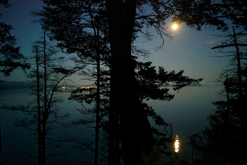 The moon over the water and Powell River.
