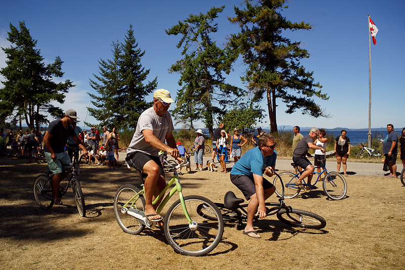 Sports day.  The slow bike race, adult division.