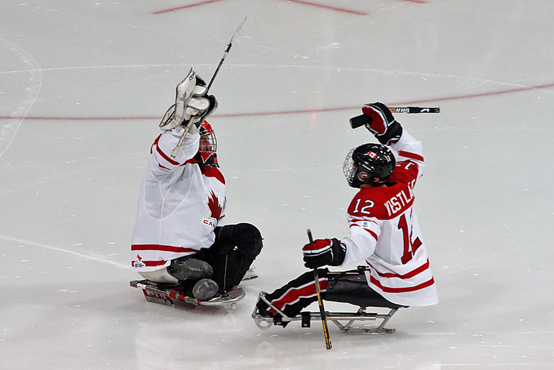 Sledge hockey, Canada vs Norway, 2010 Paralympics, Vancouver BC, March 16, 2010. Canada wins 5-0.