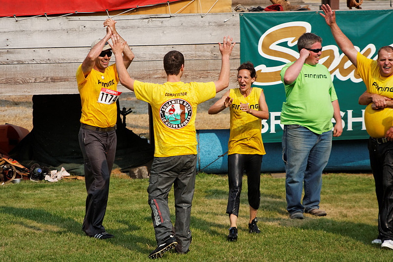 Team relay, Squamish Days Novice & Intermediate Logger Sports, Al McIntosh Loggers Sports Grounds, Squamish BC, July 31, 2010.  The winners.