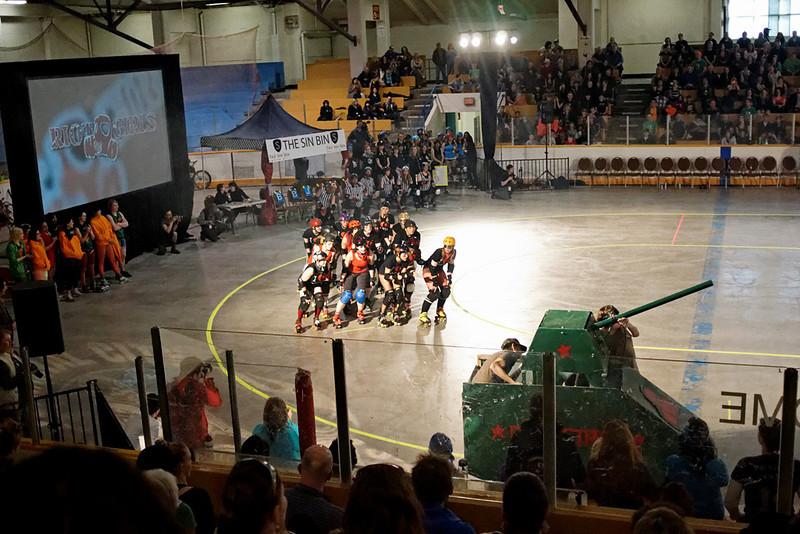 Bad Reputations vs Riot Girls, Terminal City Roller Girls season six opening night, Kerrisdale Arena, Vancouver BC, April 6, 2012.