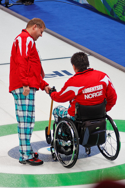 Wheelchair curling, Canada vs Norway, 2010 Paralympic games, March 14, 2010. Canada won 5-4.