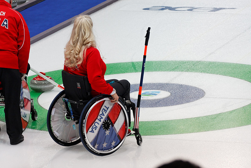 Wheelchair curling, 2010 Paralympic games, March 14, 2010.