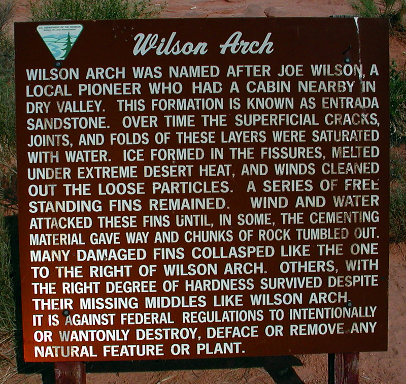8e 01 Wilson Arch Placard
