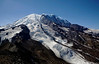 Mount Rainier on a warm summer day with Emmons Glacier in the foreground.