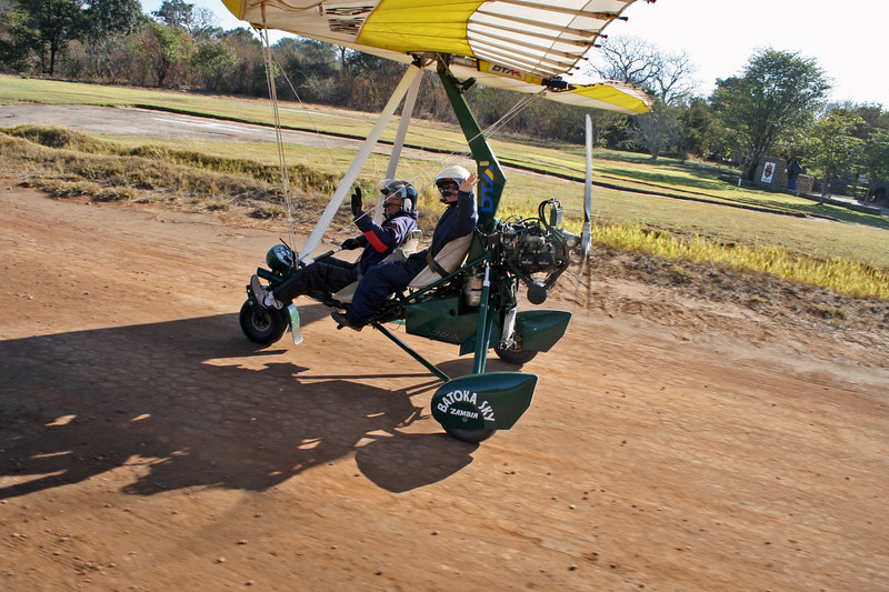 The best way to see the Falls is from the air.  There are 3 options:  small airplane, helicopter, or micro-light.  We chose the latter.  This contraption looks like a seated lawn mower attached to a hang glider.  They go up about 1500 feet and fly at speeds up to 50 mph.  Quite a thrill!