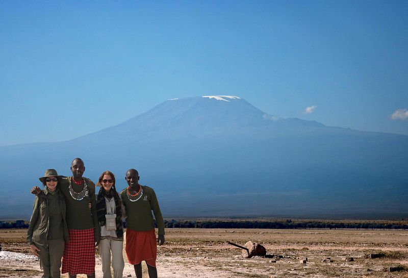 Mt. Kilimanjaro.  Just a hint of the famous snow still clings to the summit.  We were very lucky to see the mountain.  Apparently, clear views such as this rarely occur.  We stopped here just before entering Amboseli National Park.