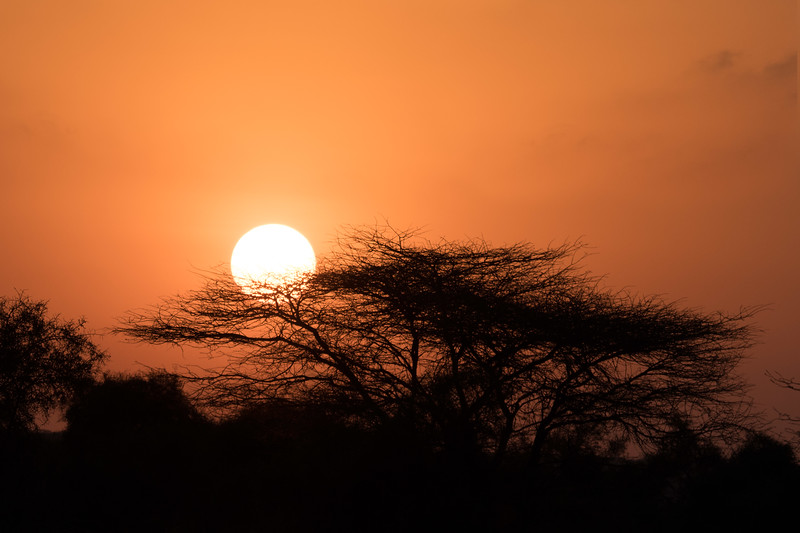 """First Kenyan sunset.  We thought this  was good, but the ones later in the trip were magnificent (see """"2017 Masai Mara"""" journal and the """"Additional Photos"""" gallery)."""