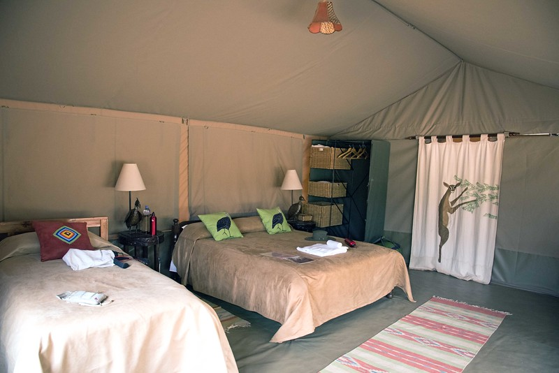 The tents in all the camps were comfortable and well-appointed.  Even the bucket showers were great :)