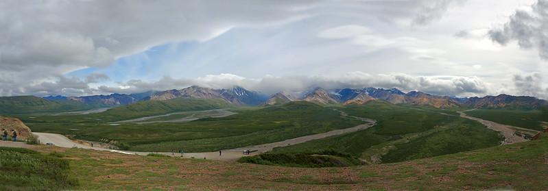 5-photo panorama taken from the Denali Visitor Center.