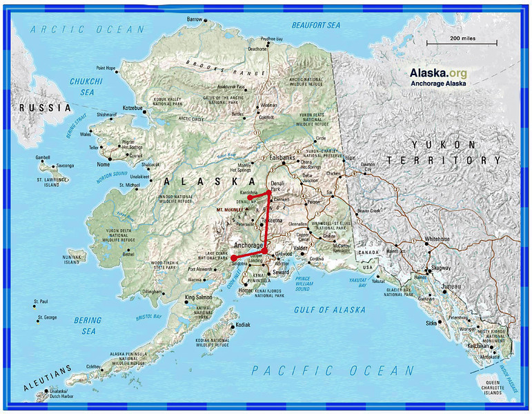 In mid-July, 2012, Bill, Bobbi, David and I set out for 11 days in Alaska. We flew into Anchorage and headed out the next morning for our first destination, Lake Clark National Park.  Considering we were in Alaska, the weather was exceptional for all but the last day of our trip.