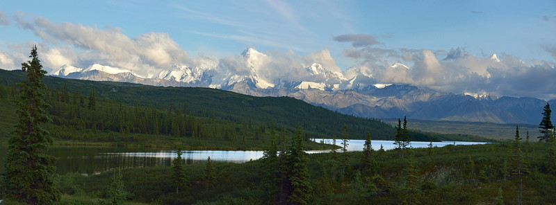 In the evening, we drove a few miles back down the road to see this spectacular sight.  (5-photo panorama).  This was our last evening at the Kantishna Roadhouse, and although it was beautiful, we were ready to go home.