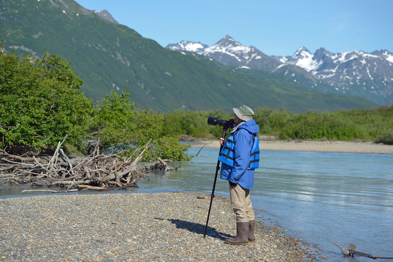 When we arrived at the salmon stream, we donned our waders and headed in.