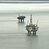 Oil rigs.