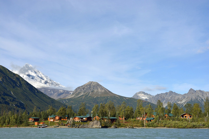A view of the lodge and Redoubt Volcano as we were returning from our north-lake adventure.