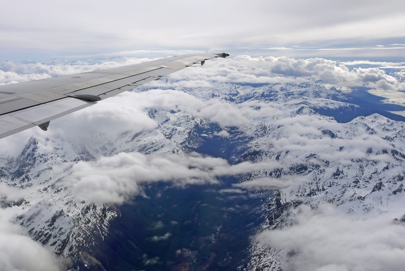 We left Buenos Aires the next morning for the 3-hour flight to Ushuaia.  Here we're flying over the Andes Mountains heading south.