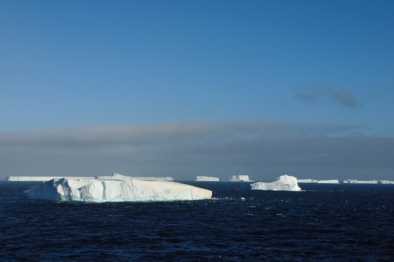 As we exit Drake Passage and enter the Bransfield Straight, we see our first icebergs.
