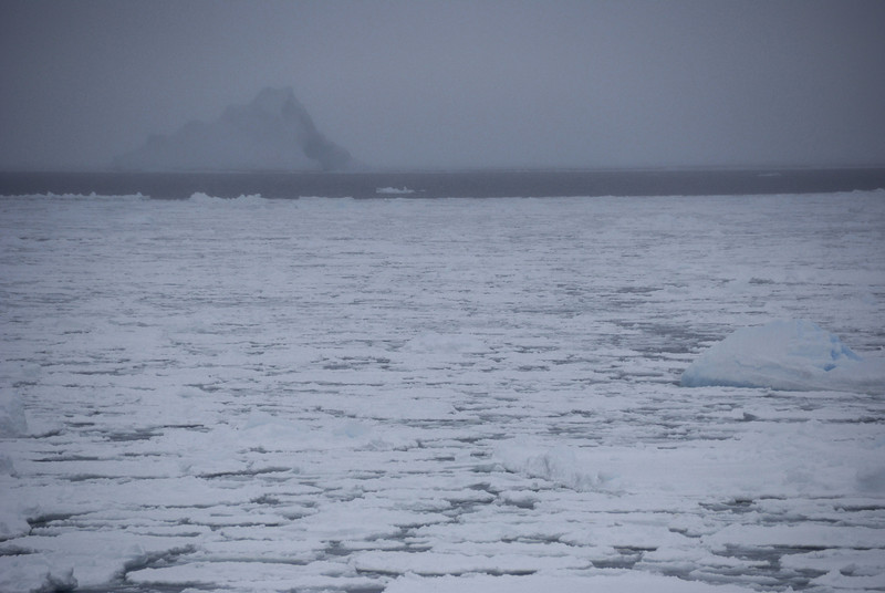 It was a near white-out, but this was our first iceberg sighting.
