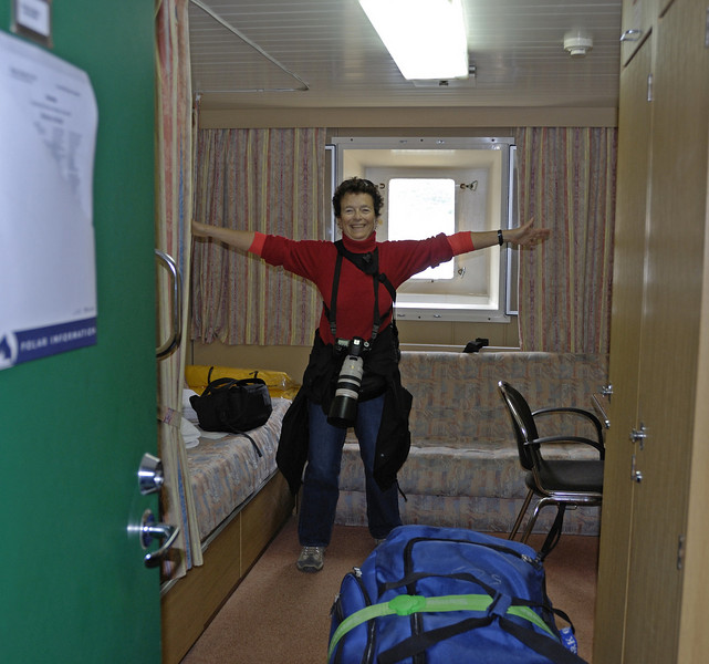 Here's Joan giving a tour of our spacious accommodations :-)