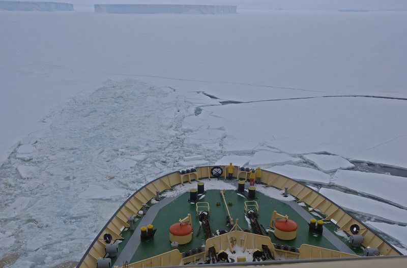 Here we're repositioning the ship so we don't get frozen in.