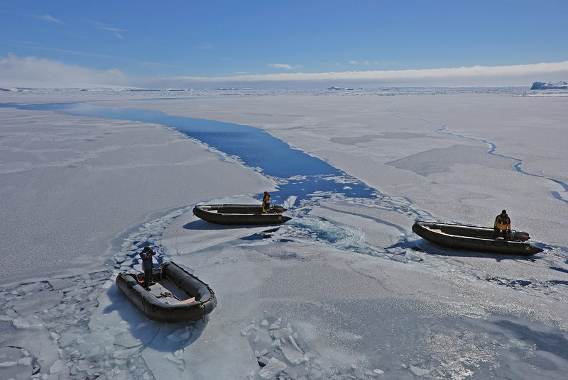 The good news is we made it to Brown Bluff and the sun is shining.  The bad news is the sea is still frozen.  We're very grateful  the crew decided to put the zodiaks in the water in spite of the conditions to try to get us to the Adelie rookery.