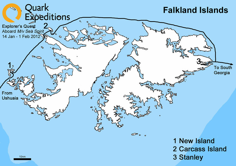 We arrived in the Falklands around 7:00 AM.