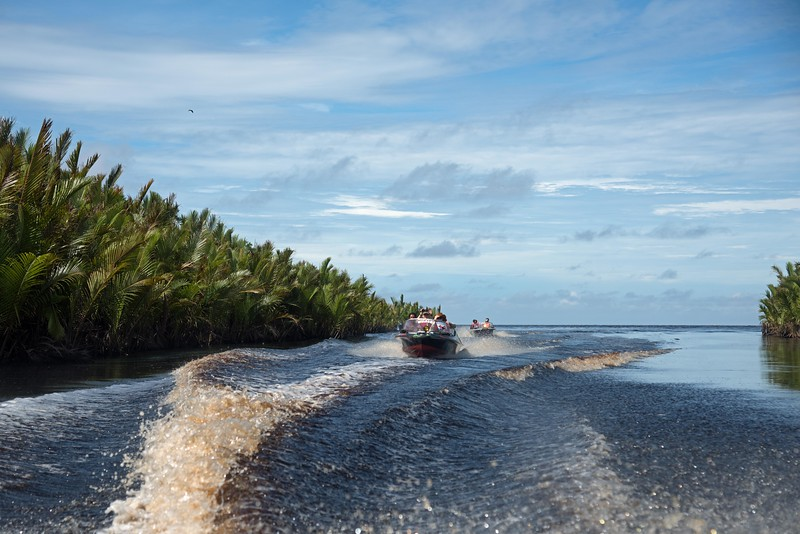 The following day we took speedboats to a camp and feeding platform managed by the Bornean forest service.