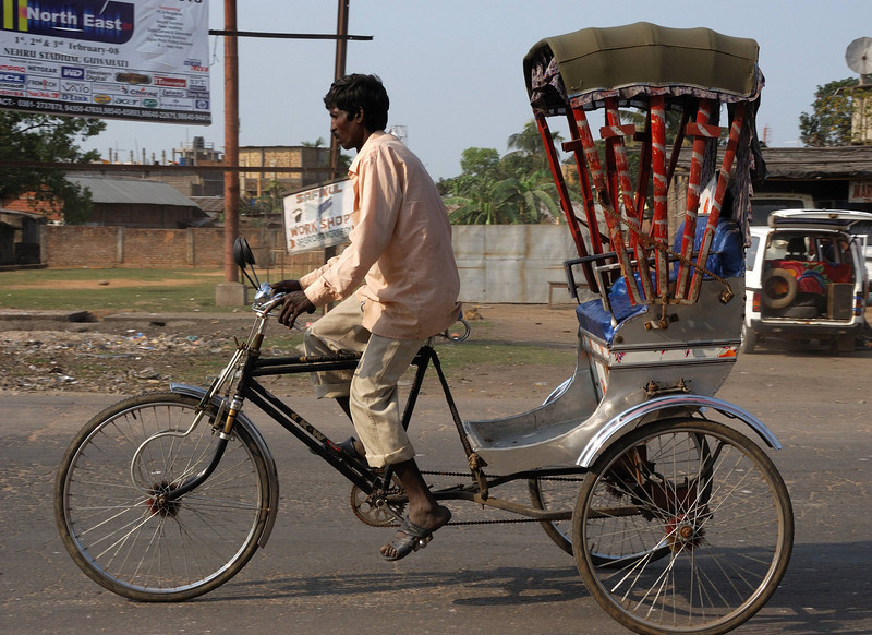 There are very few tourists in this part of India.  These rickshaws are for the local people and are a common form of transportation.