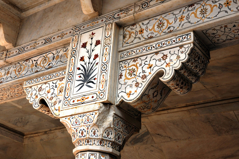 Inside Agra Fort, beautiful semi-precious stone inlay designs carved into marble.