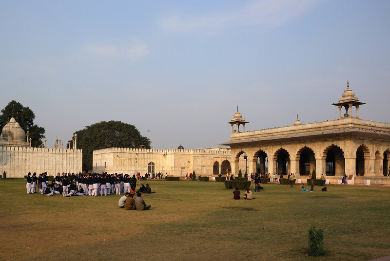 Not all the buildings within the Red Fort are red.  These are made of white marble.