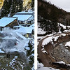 "Above is a view of the valley below the monkey park.  The photo on the left was taken several years ago at roughly the same time of year as our visit. The photo on the right was taken by me.  We were told there had been little snow all season.  Sadly, the same was true last year and the year before. Climate change again.  For the treacherous one-mile uphill hike on a narrow path to get to the park entrance, the lack of snow was a good thing, but it's not possible to get the iconic ""snow monkey"" experience without snow.<br /> <br /> The Jigokudani Monkey Park (above) is located in a large national park. It's a thermal area surrounded by steep cliffs and hostile forests.  The monkeys are actually wild Japanese macaques.  As humans began encroaching on their habitat, the macaques began disappearing.  Local citizens decided to save them, which gave birth to the Snow Monkey Park."