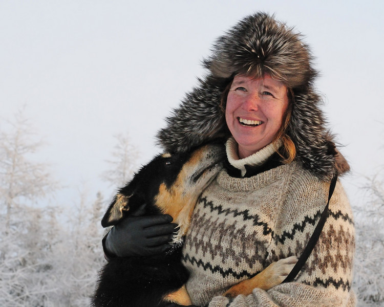 This woman and her husband own the sled dog operation.  The mutual love between the dogs and their owners is obvious.